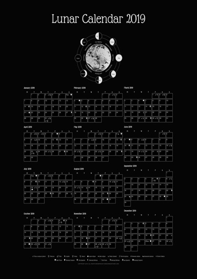 Wiccan Calendar 2022.Lunar Calendar 2022 Black